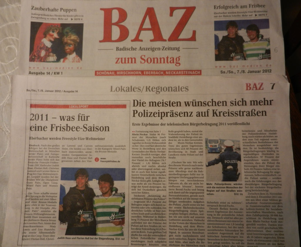 BAZ Titelblatt: 2011 Was für eine Frisbee Saison 2012-01-07